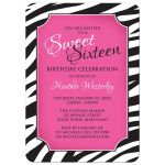 Sweet 16 Invitations - Chic Zebra Print Pink