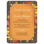 Reception Only Invitations - Autumn Orange Wood Leaves