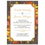 Reception Only Invitations - Autumn Orange White Wood Leaves