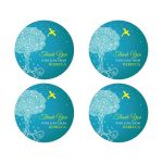 Bat Mitzvah Round Favor Stickers - Turquoise Ornate Tree of Life with Dove