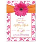Hot pink gerbera daisy and damask floral orange ribbon bridal shower invitation front