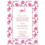Hot pink gerbera daisy and damask floral orange ribbon bridal shower invitation back
