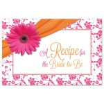 pink gerbera daisy damask floral and orange ribbon recipe card for the bride-to-be front