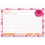 pink gerbera daisy damask floral and orange ribbon recipe card for the bride-to-be back