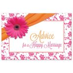 Pink gerbera daisy damask floral and orange ribbon advice card for the bride-to-be front