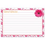 Pink gerbera daisy damask floral and orange ribbon advice card for the bride-to-be back