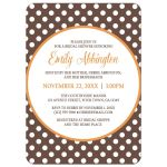 Bridal Shower Invitations - Orange Brown Polka Dot
