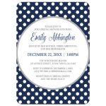 Bridal Shower Invitations - Gray Navy Blue Polka Dot