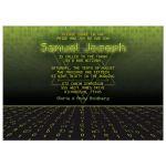 Green, black, and yellow binary code digital pixel gamer Bar Mitzvah invitation front