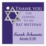 Best purple bat mitzvah favor tag with silver star of david