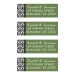 Green, black, white damask pattern customized return address label templates