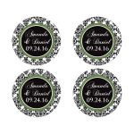 Personalized round wedding favor save the date sticker envelope seal in black and white damask with clover green
