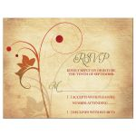 Rustic vine leaf and berry autumn wedding RSVP reply card front