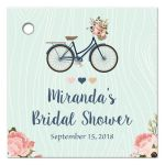 Floral bike personalized bridal shower favor gift tag