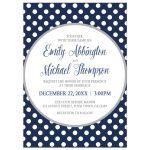 Wedding Invitations - Gray Navy Blue Polka Dot