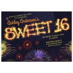 Fireworks and sparkler night starry sky sweet 16 invitation front