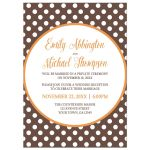Reception Only Invitations - Orange Brown Polka Dot