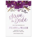 Violet Watercolor Flowers Save The Date Card