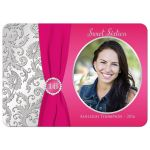 Best pink and silver sweet 16 birthday party invitation with ribbon and jewels