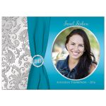 Best turquoise blue and silver photo sweet 16 invitation with ribbon and jewels