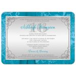 Great sweet sixteen birthday party invitation with photo in aqua blue and silver grey