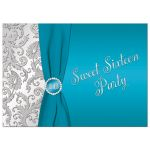 Best turquoise blue and silver sweet 16 invitation with ribbon and jewels