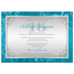 Great sweet sixteen birthday party invitation in aqua blue and silver grey