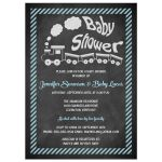 Best chalkboard baby shower invitation with toy train and blue stripes