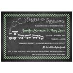 Best chalkboard baby shower invitation with toy train and green stripes