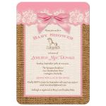Best pink, ivory, and brown burlap baby shower invitation with pink bow for a girl