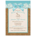Best blue, ivory, and brown burlap baby shower with blue bow for a girl
