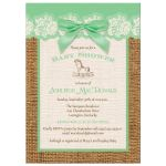 Best green, ivory, and brown burlap baby shower with mint green bow for a girl