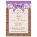 Best purple, ivory, and brown burlap baby shower with purple bow for a girl