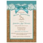 Best teal blue, ivory, and brown burlap baby shower with teal bow for a girl or boy