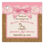 Best pink, ivory, and brown burlap baby shower favor tag with pink bow for a girl