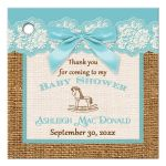 Best aqua blue, ivory, and brown burlap baby shower favor tag with blue bow for a boy