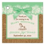 Best green, ivory, and brown burlap baby shower favor tag with green bow