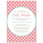 Bridal Shower Invitations - Light Teal & Coral Polka Dot