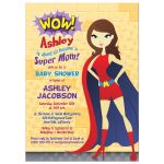 ​Comic book comics style Super Mom superhero baby shower invitation
