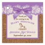 Best lavender, ivory, and brown burlap baby shower favor tag with purple bow for a girl
