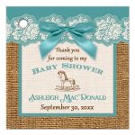 Best teal blue, ivory, and brown burlap baby shower favor tag with teal bow for a boy or girl