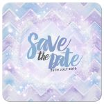 Save the Date | Purple Aqua Chevron Stardust