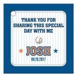 Bar Bat Mitzvah Gift Tag - Blue Orange Pinstripe Baseball Sports Card