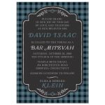 Blue & Black Buffalo Plaid Bar Mitzvah Invitations