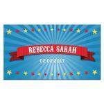 Bar Bat Mitzvah Flat Place Card - Circus Carnival Big Top