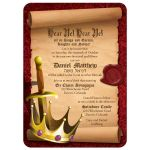Medieval fantasy knight sword and king crown Bar Mitzvah invitation front