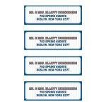 Bar Bat Mitzvah Mailing Labels - Blue Orange Pinstripe Baseball Sports Card