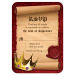 Medieval fantasy king crown Bar Mitzvah RSVP reply card front