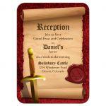 Medieval fantasy knight sword Bar Mitzvah RSVP reception card front