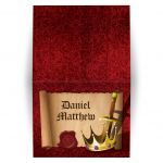 Medieval fantasy knight sword and king crown Bar Mitzvah thank you card